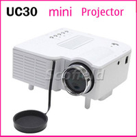 Wholesale UC30 P Portable Projector Mini Lumens Multimedia LED LCD Projector with HDMI VGA AV USB SD Slot for Smart cell phone iPhone iPad
