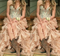 2016 Champagne Hi Lo Organza Cascading Ruffles Prom Pageant ...