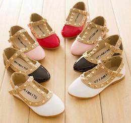 Wholesale Kids shoes Spring Elegant Rivet Princess Patent Leather Kids Low heeled Children Shoes Girls Wedge Sandals Colors Free ship