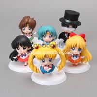 Big Kids big mars - 5sets Anime Cartoon Sailor Moon Mars Jupiter Venus Mercury PVC Action Figure Model Toys Dolls set SMFG010