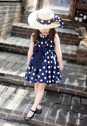 Wholesale summer clothes dot pink belt party dress Korean Style bow skirt kids nice fomal dress baby full dress christmas Retailing