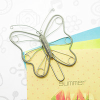 big paper clips - A28 BUTTERFLY BIG PAPER NOTE CLIP PRACTICAL NOVELTY CREATIVE STAINLESS WIRE HAND MADE ART CRAFTS WEDDING BIRTHDAY HOME OFFICE GIFT PRESENT