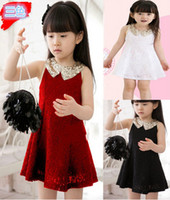Girl dress Korean Girls Aristocratic Wind Paillette Lace Lap...