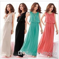 Wholesale Women Bohenmia Pleated Wave Lace Strap Princess Chiffon Maxi long dress Four Colours Adeal Very Cheap Bridesmaid Gowns