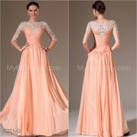 Reference Images Jewel Neckline Chiffon Full Lace Top 2014 Mother of the Bride Dresses Crew Neckline Long Sleeve Pleats Sheer Chiffon A Line Prom Evening Gown Custom Made E221