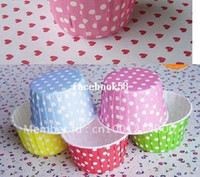 Wholesale 750pcs Polka Dot color Cupcake Liners Baking Paper Cups For Cupcake Muffin Cake Case Base mm Wedding Decoration Free Shiping