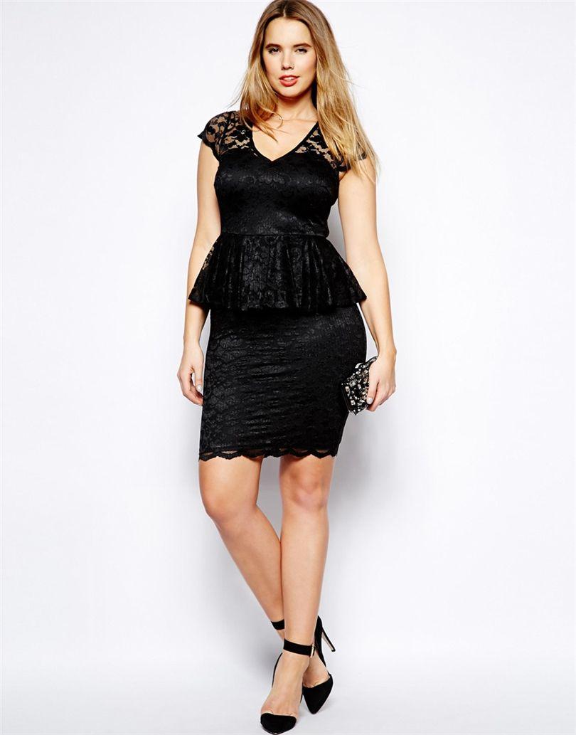 Flawless Sheath Peplum Lace Plus Size Prom Dresses V Neck Cap ...