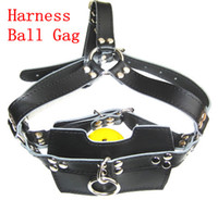 sex Leather Full Mouth Mask Head Harness Gag Ball Bondage SM...