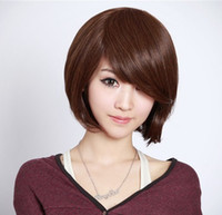 Wholesale Stylish Ladies Women Oblique Bangs Short Bobo Wig Straight Synthetic Hair Handsome Periwig Hairpiece