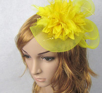 ribbon bow and flowers - New models Feather and flower Fascinator Hat with black headband wedding ladies day