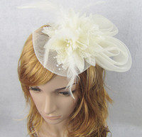 Silk Flower ribbon bow and flowers - Fashion models Feather and flower Fascinator Hat with black headband wedding ladies day