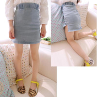Summer A-Line Knee-Length Girls sand colored jeans pockets hip high slit skirts short skirt, girls skirts Korean children