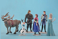 Wholesale Frozen Anna Elsa Hans Kristoff Sven Olaf PVC Action Figures Toys Classic Toys set Top Quality Hot Sale DHL