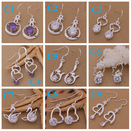 Wholesale Earings Brand New Mix OrderBest gift Marking Lowest Price Silver jewelry Charming women girls Dangle Earrings Mix Order