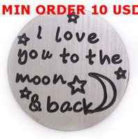 Wholesale floating locket plate I love you to the moon back mm stainless steel silver