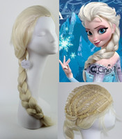 Wholesale 2014 High fashion Frozen Princess Anna Wigs Frozen Cosplay Wig With Ponytails SilverWhite Streaked Full Wigs Cos hair wigs Snow European Wig