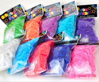 8-11 Years Multicolor Plastic Colorful Rainbow Loom kit late Rubber band loom Bands bracelet amazing gift for children single colors handmade DIY 300pcs bands+12 pcs S