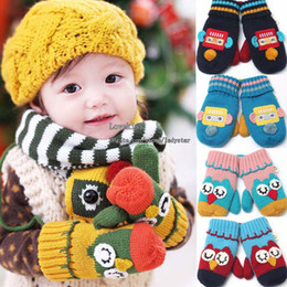 Wholesale Warm Mittens Child Knit Gloves Cartoon Gloves Children Gloves Mittens Winter Gloves Boys Girls Kids Gloves Baby Warm Gloves Kid Wool Gloves