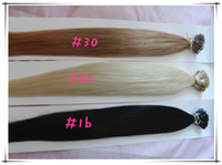 Wholesale Stick Virgin Hair - 100% Brazilian Human Virgin Remy Queen Hair Stick Hair #1B 30 60 I-tip Hair Extension Hot Queen Pre-bonded Hair Extension 6A Grade 3pcs lot