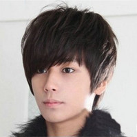 Wholesale Fashion Adult Stylish Men Oblique Bangs Synthetic Hair Heat Resistant Hairpiece Periwig Straight Short Wig Colors
