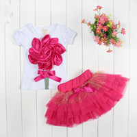 Wholesale New lace Korean girls dresses girl tutu dress layered dress children D flowers kids cotton lace dress baby girl dress set