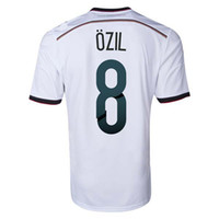 Wholesale 2014 World Cup Germany Home Soccer Jersey Germany Ozil Soccer Shirts AAA Quality Soccer Uniforms Kit Mens Soccer Top Sports Jerseys