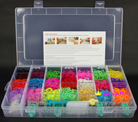 Wholesale Rainbow loom kit clear plastic box for Kids DIY bracelets with ps rubber bands S clips hook