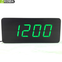 Digital alarm clock big numbers - Top Quality Alarm Clocks with Thermometer Table Clocks Big numbers Digital Clock Wood Wooden Sound control Clocks LED display