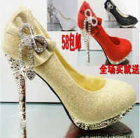 red sole shoes - Women s Shoes Wedding Shoes Red Sole Shoes Rhinestone Gold Wedding Shoes Red Bridal Shoes High heeled Shoes t1059
