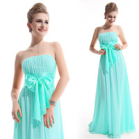 mint green strapless high waist bow sash A line chiffon brid...