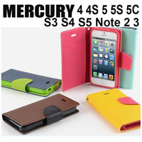 Cheap For Apple iPhone MERCURY Leather Case Best Leather Black Wallet Stand Flip Cover