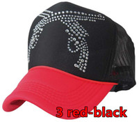 Wholesale 20pcs Double gun patterns truck cap Crystal rhinestone mesh hat Snapbacks caps hat circumference cm color