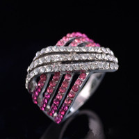 Wholesale European Ring Platinum Plated Full Rhinestone Crystal Band Ring Statement Women Fashion Jewelry