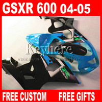 Wholesale Motorcycle parts for SUZUKI GSX R customize fairings GSXR GSXR600 k4 blue black ABS fairing kit gifts dd77