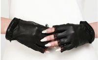 S, M, L fashion fingerless leather gloves - Fingerless lambskin women gloves fashion genuine leather summer driving gloves biker gear sports glove black half finger glove