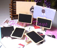 Wholesale Via Fedex EMS Wooden Mini Blackboard Message Paper Clip Mini Chalkboard Notes Folder Bookmark Holder