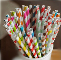 Wholesale mixed Striped and Polka Dot Drinking Paper Straws drinking straw for party favor