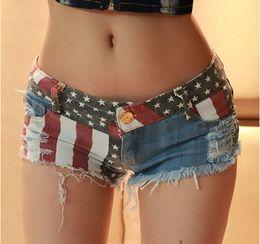 Wholesale 1pcs Sexy American US Flag Mini Shorts Jeans Hot Pants Denim Low Waist Stars Stripes