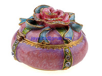 Wholesale Rose decorative box trinket box pewter jewel box metal ornament pewterware