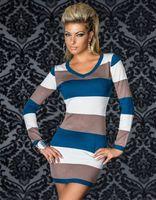 Cotton plus size clubwear - PLUS SIZE Women Ladies Long Sleeves Stripe Mini Dress Clubwear Dancewear M XL XXL