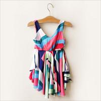 TuTu Summer Pleated Hot sell girl summer vest dress ladies style multicolor striped girls's sling dress Pleated dress 5pcs lot 3968