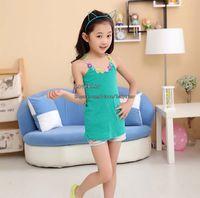Wholesale Girls Condole Belt Kids Clothes Sleeveless T Shirt Children Tank Tops Kids Condole Belt Fashion Wear Girls Summer Vests Child Clothing