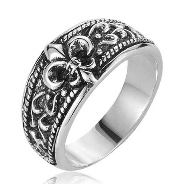 2017 top quality flower cross ring mens boys 925 silver
