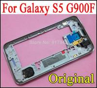 al por mayor marcos hk-Cubierta media del reemplazo de la placa del bisel del panel medio del marco para la galaxia S5 i9600 G900F HK de Samsung libera el envío