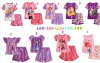 Wholesale 5 sets Girls Frozen Elsa amp Anna Pajamas T shirts Shorts suits kids Summer Pyjamas Minnie Mouse children clothing set Sofia sleepwear