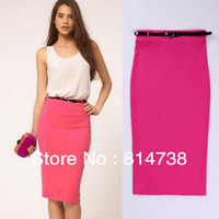 Cotton Above Knee Women Free shipping Hot sell! Autumn Women Cotton Candy Color Stretch High Pockets Hip Skirt Pencil Skirt Step Skirt,with belt 2c07