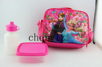 Wholesale New Frozen Kids Bags Lunch bag Box Elsa Anna Olaf water bottle amp meal box Children Shoulder Bag C1290