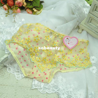 Wholesale Decleor fine mesh gauze sweet little sexy bud ultra low waist Ms Meng little princess wind underwear embroidery