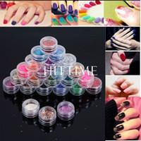 Nail Art 3D Decoration Nail Art Rhinestones Nail Glitter 24 Color Shiny Glitter Manicure Nail Art Acrylic Powder Polish Set Tools Kit #54693