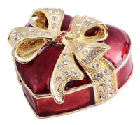 Carved hand painted jewelry box - Red heart box wedding gifts trinket box favors and gifts hand painted with rhinestone jeweled enamel hinged jewelry box
